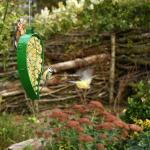 Silo à nourriture pour oiseaux en forme de feuille - vert