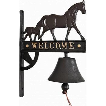 Cloche de porte d 39 entr e avec cheval gongs et cloches d coration divers d coration et for Cloche de porte d entree