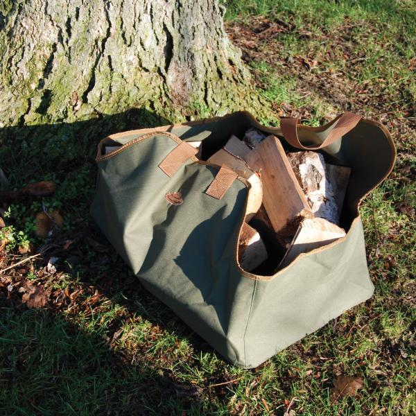 kaminholztasche tasche um holzscheite f r die terrasse. Black Bedroom Furniture Sets. Home Design Ideas