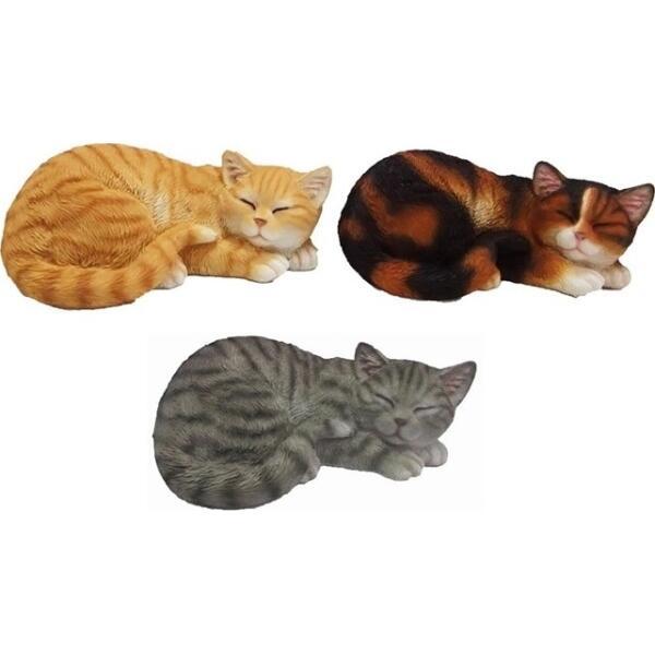 Chats 3er Set à la main bois CAT CHAT deco animaux personnage 50+40+30 cm vert nouveau