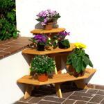 Holzblumentreppe - Blumenregal Eckmodell