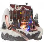 LED Weihnachtsdorf mit Kinder 22x20x18,5 cm