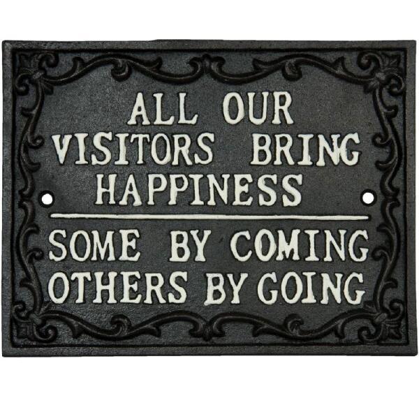 Criteau all our visitors bring happiness d coration for Tout pour la maison en ligne