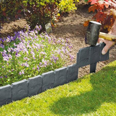 Bordure de jardin en plastique - gris pierre env. 240 cm