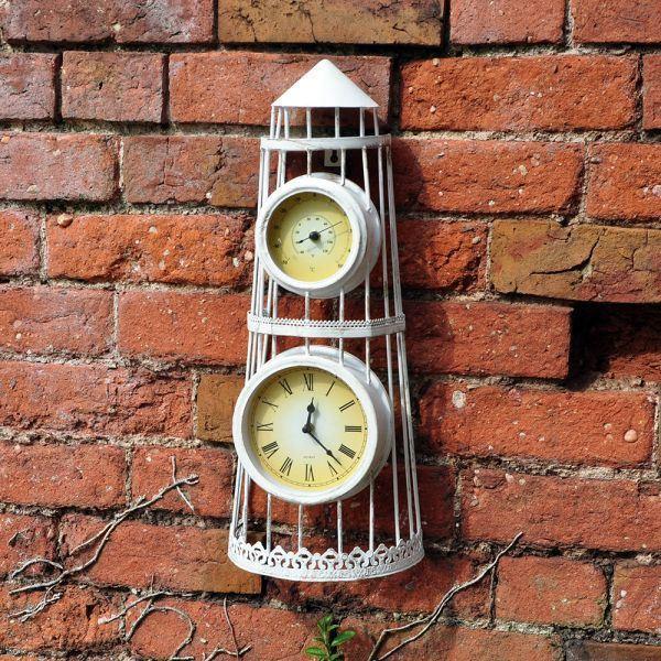 acheter une horloge antique avec thermom tre vintage. Black Bedroom Furniture Sets. Home Design Ideas
