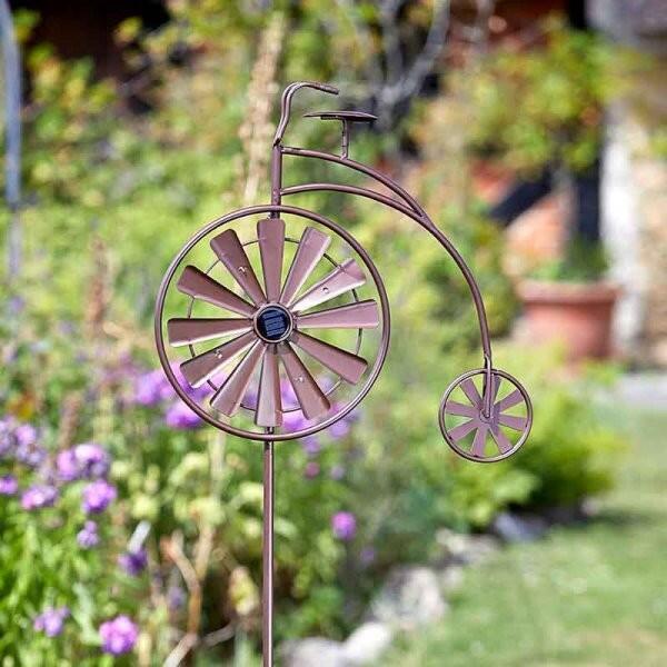 Girouette solaire en forme de grand-bi - avec piquet de jardin de 150 cm